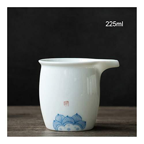 ARTFFEL Elegante 220ML Pintado a Mano de Porcelana Blanca Copas de cerámica Hecha a Mano Chahai Kung Fu Chino Juego de té de Calor Tazas de té Resistente Suave (Color : B)