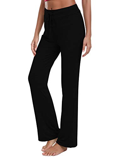 Irevial Pantalones de Yoga para Mujer Modal,100% Algodon,Alta Cintura Elásticos pantalón de Campana con cordón, Casuales Chandal Deportivo para Pilates Jogger Fitness,Negro