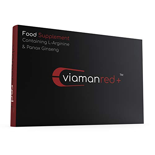 Viaman Red (10 Capsules) - High Strength and Fast Acting Ginseng & L Arginine Complex Food Supplement - 100% Natural