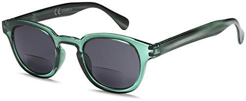 Newvision - Gafas bifocales premontadas con lentes oscuras, 100% de protección contra los rayos UV, gafas de sol bifocales para mujeres y hombres, cremallera de resorte, NV1119 (+2.50, verde)