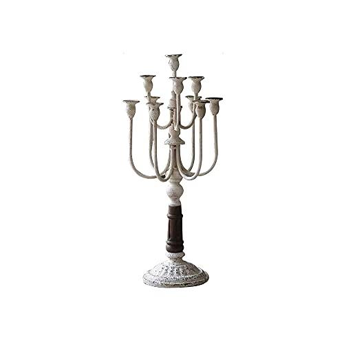 CJSWT Candelabros de Chimenea, candelabros de Hierro, candelabros Retro para cenas y decoración de Mesa,Blanco