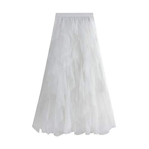 Geagodelia F-46572 - Gonna estiva in tulle, da donna, elegante, morbida, lunga, maxi gonna in tulle, taglia unica, 36/38/40 bianco 40-44