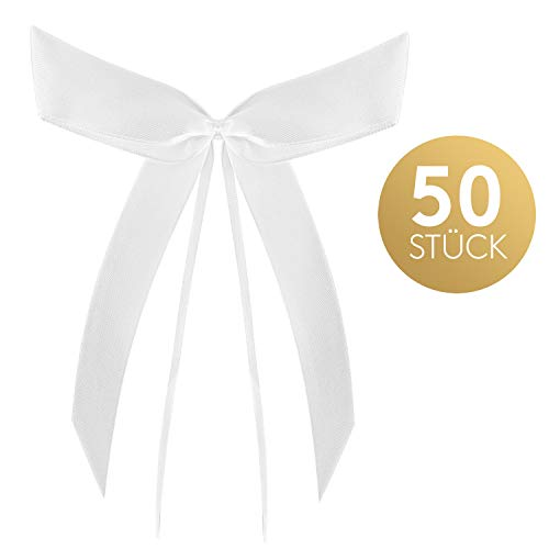 Fairytale Wedding © Autoschmuck Hochzeit mit 50 wunderschönen Satin Antennenschleifen weiß - Autoschleifen Hochzeit als Auto Schmuck Hochzeitsdeko - Antennenschleifen Hochzeit für Brautauto Deko