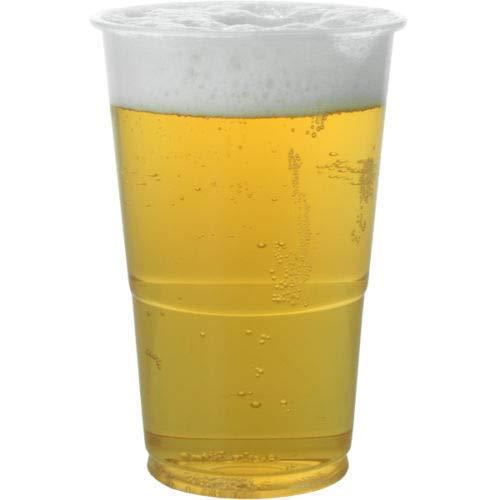 Real Accessories - Bicchieri da birra usa e getta, in plastica riciclabile, 50 pezzi, perfetti per birra e bevande analcoliche