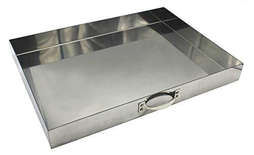 Grillclub 1 x massiver Edelstahl Aschekasten 49 x 34 cm (1.4016 magnetisch) für einen Grillkamin (54x34cm) Grill Rost Kamingrill