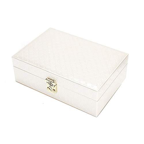 Jewelry Box 27 * 18.2 * 9cm Caja de Almacenamiento de joyería Pendientes bloqueados Anillo de uñas (Color: Amarillo) leilims (Color : White)