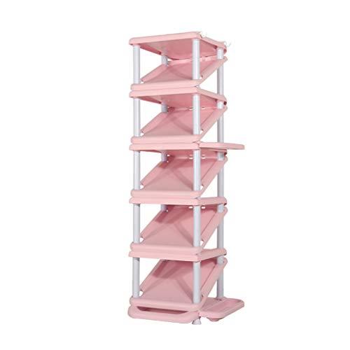 MYBA Zapatero plegable de 6 niveles para zapatos, multifuncional, de polipropileno, organizador de zapatos, para ahorrar espacio, para el hogar (color: rosa)