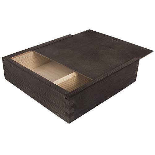 Search Box Boîte en Bois avec Couvercle Coulissant