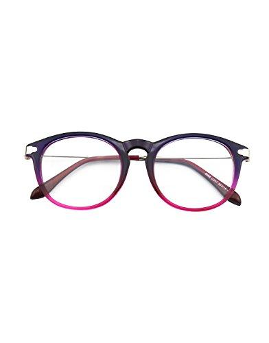 CN88 Klassische Nerdbrille rund Keyhole 40er 50er Jahre Pantobrille Vintage Look clear lens,Blau
