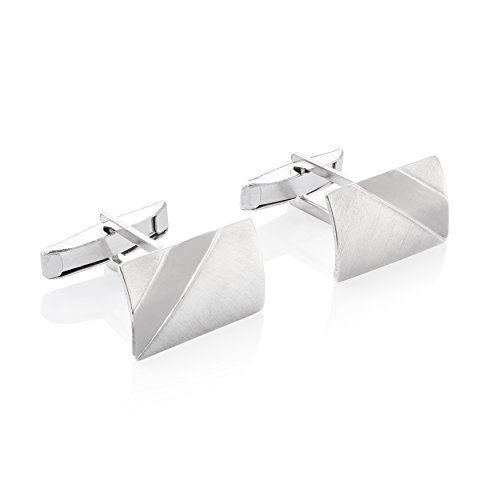 STERLL Herren Manschettenknöpfe Sterling-Silber 925 Gebürstet mit Oxidiertem Streifen Schmucketui Männer Geschenke