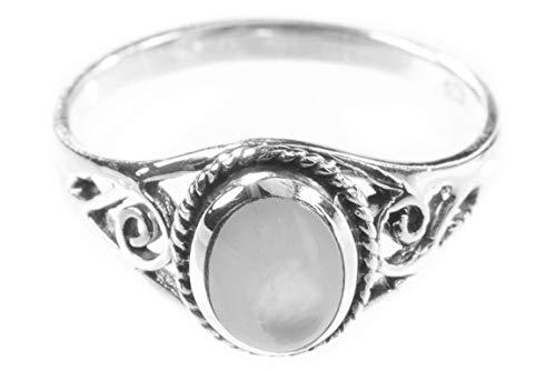 WINDALF Zarter Ring LUCY h: 0.9 cm Perlmutt mit Lebens Spiralen Hochwertiges Silber (Silber, 56 (17.8))