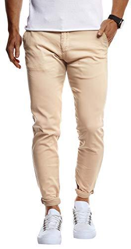 Leif Nelson Herren Chino Hose Stretch Chinohose Slim Fit Schwarze Basic Hose für Männer Sommer Freizeithose LN1002 Camel W38L32