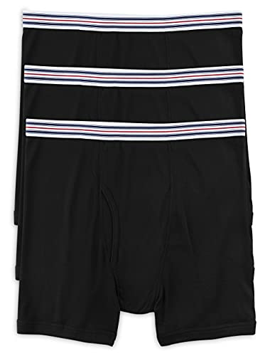 Harbor Bay by DXL Big and Tall Knit Boxer Briefs, Black 7XL, Pack of 3