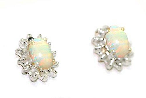 Octubre Birthstone Pendientes–Opal en 14K oro amarillo o 14K oro blanco