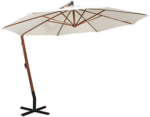 FGVBC Sombrilla Colgante 350cm Poste de Madera Blanco jardín Patio sombrilla sombrilla al Aire Libre sombrillas al Aire Libre
