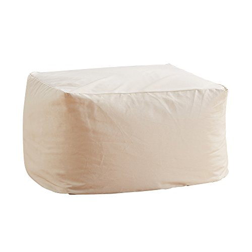 Vanking ビーズクッション アースカラーキューブチェア 洗えるカバー 極小ビーズ使用 Mサイズ ベージュ VK Living