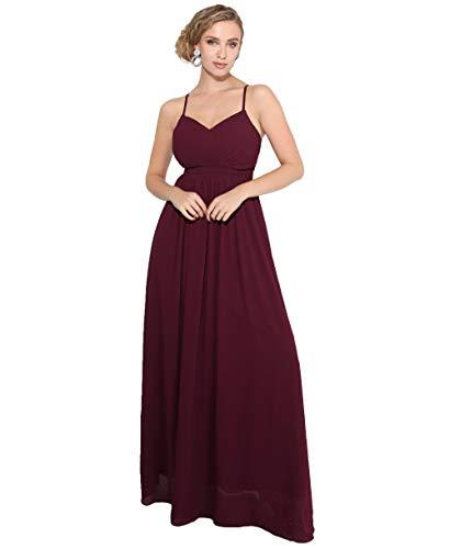 KRISP Damen Langes Abendkleid Raffung Maxikleider Ballkleider Brautjungernkleider Trägerkleid, Weinrot (3981), 48, 3981-WIN-20