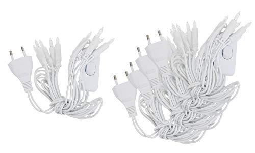 VBS Großhandelspackung 5er-Pack Mini-Lichterkette mit Schalter Innen, weiß 10er, warmweiß