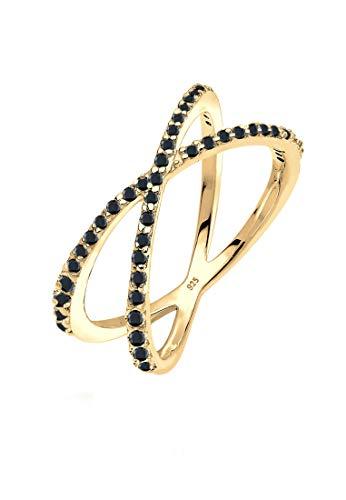 Elli Ring Damen Wickelring X mit Zirkonia Kristallen in 925 Sterling Silber
