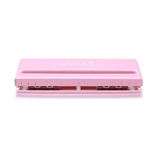 Aibecy-Perforadora de escritorio ajustable de 6 agujeros para A4 A5 A6 B7 Organizador de planificador de lácteos Carpeta de seis anillas con capacidad para 6 hojas (Rosa)