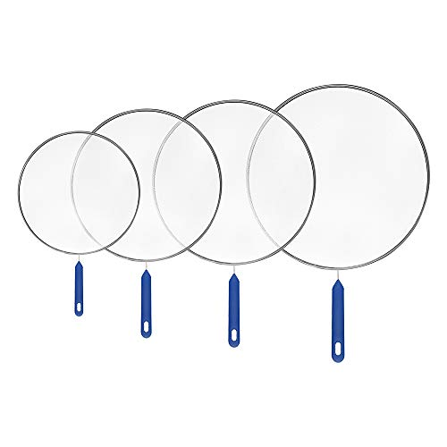 YASUOA 4 Pieces Grease Splatter Screen Guards Mesh Stainless Steel Fine Mesh Pan Pot Frying Oil Cooking Cover Skillet Lid with Long Handle for Hot Oil Shied Cooking Chef Kitchen(8'',10'',11'',13'')