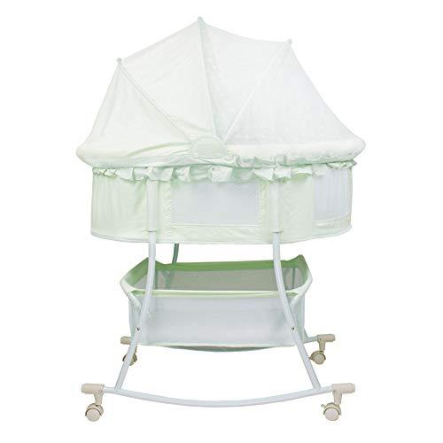 XJJUN-Berceau à bascule Monosyl Net Universal Wheel Mobile Steel Pipe Swing Breathable Formaldehyde-Free Safety Neonatal ( Color : Green , Size : 92x52x82cm )