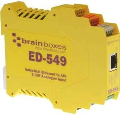 BRAINBOXES ED-549 Brainboxes Ethernet to Analogue 8 Inputs + + RS485 Gateway, 8 Differential chs, Individually configurable, 0-10V and 4-20mA inputs, Connect All Types of sensors