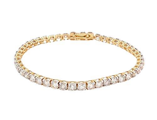 Bracciale in oro giallo 18 carati con diamanti 7,25 (9,00 ct) da tennis Line largo 3,5 mm