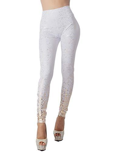 iB-iP Mujer Destellos Dorado Elásticos Moda Mediados De Cintura Legging Sin Pies, Tamaño: 40, Blanco