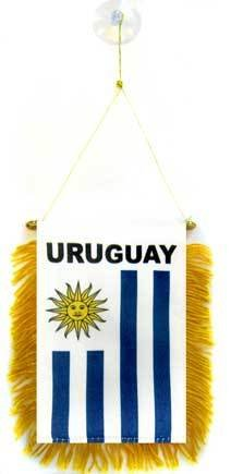 AZ FLAG Wimpel Uruguay 15x10cm - URUGUAYISCHE Mini Flagge 10 x 15 cm - Auto Pennant spezielle Auto