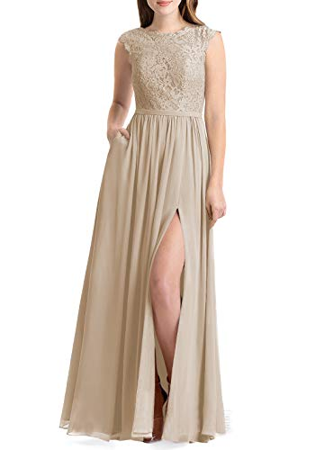 Lover Kiss Women Lace Bridesmaid Dress V Back Wedding Gown Dress B023 8 Champagne