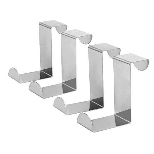 EQLEF Crochet S d'angle Droit réversible en Acier Inoxydable pour la Porte Articles de Rangement-4 pièces (Acier Inoxydable)
