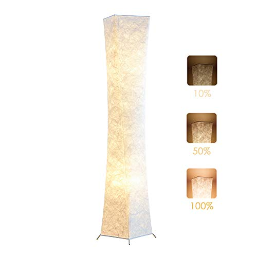 Floor Lamp, chiphy 61'' Dimmable Tall Lamp for Living Room, 3 Levels Adjustable Brightness 12W/2 LED Bulbs(2400 LM, 100W Equivalent) and White Fabric Shade, Modern and Contemporary for Bedroom