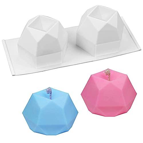 Molde de vela de silicona 3D, herramienta de molde de silicona para bricolaje, con 2 cavidades, molde para hornear de gelatina para muffins de caramelo, molde de vela para pasteles