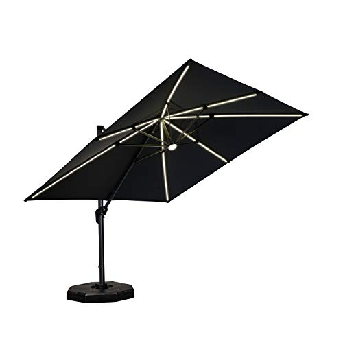 PURPLE LEAF 10 Feet Patio Umbrella Outdoor Cantilever Solar Powered LED Square Umbrella Aluminum Offset Umbrella with 360-degree Rotation for Garden Deck Pool Patio, Grey