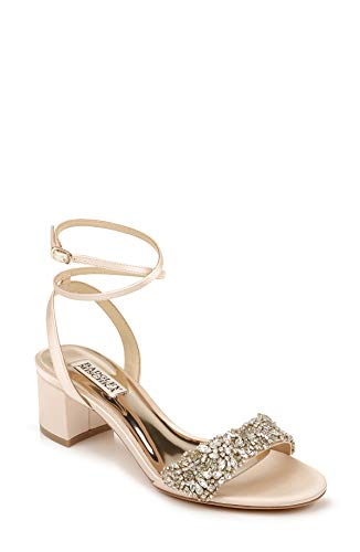 Badgley Mischka Women's Ankle Strap, Block Heel Sandal Heeled, Seashell, 7