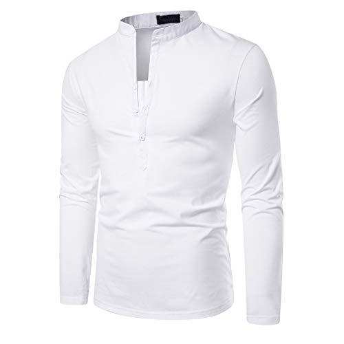 DNOQN Shirts Männer Poloshirt Slim Fit Sport Langarmshirt Herren Patchwork Knopf Slim Fit Umlegekragen Langarm Top Bluse Shirt M