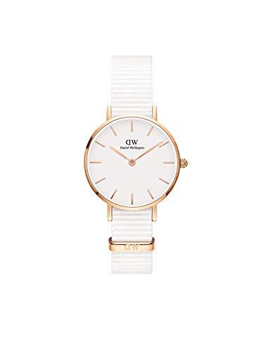 Daniel Wellington Petite Dover, Reloj Blanco/Oro Rosado, 28mm, NATO, para Mujer