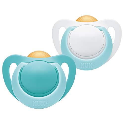 NUK 10171109 Genius Latex-Schnuller, kiefergerechte Form, BPA frei, 0-6 Monate, 2 Stück, Boy, mehrfarbig, 32 g