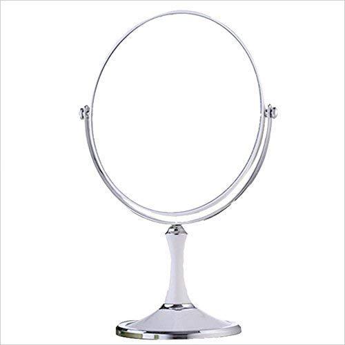 8 Pouces Grande Mode européenne Habillage Maquillage cosmétique grossissant Miroir de Table Double Face Miroir elliptique Couleur Unie (Couleur: Blanc)