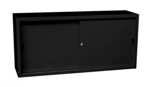 Schiebetürenschrank Schiebetüren Büro Aktenschrank Sideboard aus Stahl Schwarz 750 x 1600 x 450 mm (H x B x T) 550139 kompl. montiert und verschweißt