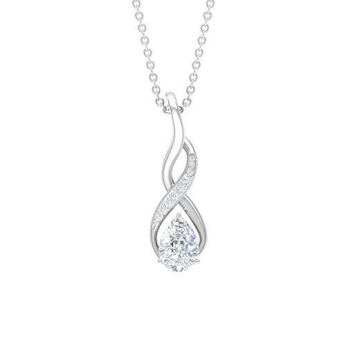 Collar con colgante de infinito, colgante de moissanita D-VSSI de 1 quilate, collar de oro simple (moissanita de corte de pera de 5 x 7 mm) blanco