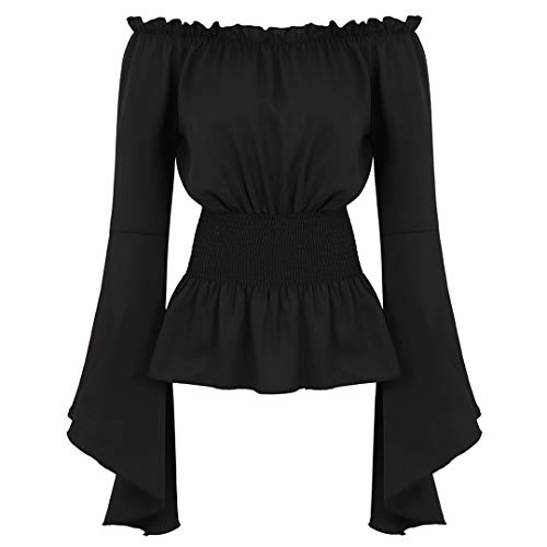 Womens Victorian Long Sleeve Boho Blouse Top Plus Size Renaissance Shirt Gothic Ruffle Pirate Skirt Cosplay Costumes Black-L