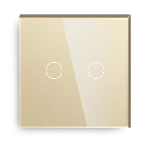 Panel de interruptores 1 vía Europa Interruptor de sensor de tacto estándar negro blanco dorado 3 colores con panel de cristal de cristal Para oficina en casa ( Color : Gold , Standard : EU Standard )