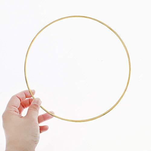 JUNSHUO 6 Piezas Anillos de Metal de Macramé Oro, 25/30cm, Aros Artesanio, Aro Floral Grande, Decoración de Corona de Boda de Aro, para Atrapasueños, Manualidades, Mobile Ring (30cm)