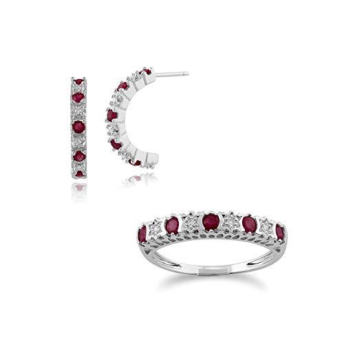 Gemondo 9ct Oro Blanco Rubi y Diamante Medio Aro Pendientes y Anillo Set