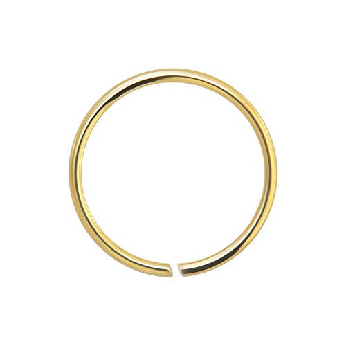 AZARIO LONDON 14K Yellow Gold 22 Gauge - 6MM Diameter Seamless Continuous Open Hoop Nose Ring Nose Piercing