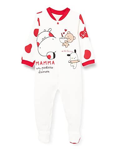 Chicco Tutina in Cotone con Apertura frontale Mamelucos para bebs y Nios pequeos, Blanco y Rojo, 62 cm Unisex bebé