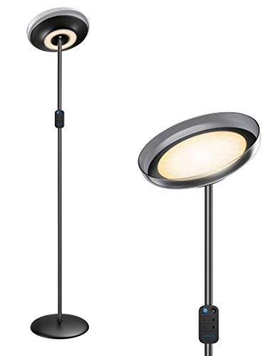 Miroco Floor Lamp, LED Sky Modern Torchiere Floor Lamp 4 Brightness Levels & 4 Color Temperatures, 1H Timer, Height Adjustable Mother Daughter Lamp for Office Bedroom Living Room(Black)