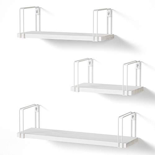 SRIWATANA Mensole da Muro Bianco Legno Scaffale Parete per Cameretta Salotto 3 Pezzi, Carico Massimo 18 kg, 23/33/43cm
